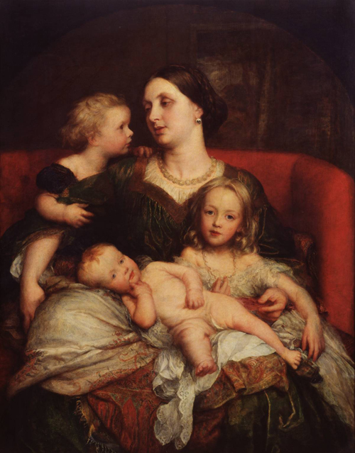 Mrs George Augustus Frederick Cavendish-Bentinck and her Children exhibited 1860 by George Frederic Watts 1817-1904